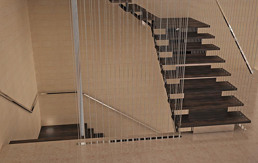 Лестница на металлокаркасе.