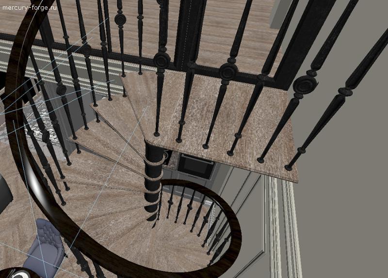 Чугунная лестница с деревянными ступенями